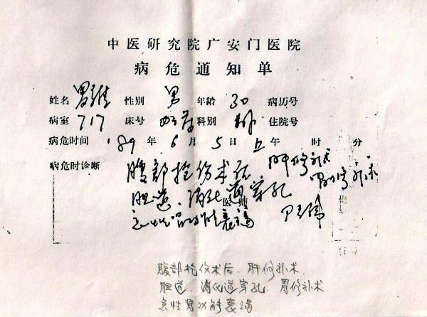 "Guang'anmen hospital notice of Luo Wei's critical condition, indicating ""acute deterioration of kidney functions, following surgery in the abdomen for gunshot wound—which left holes in the gallbladder and liver—and operations to repair the liver and the stomach"""